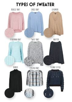 Types Of Sweater Knits Types Of Sweater Knits different knitting styles - Knitting Techniques Fashion Terminology, Fashion Terms, Types Of Fashion Styles, Fashion Websites, Look Fashion, Diy Fashion, Trendy Fashion, Fashion Dresses, Fashion Clothes