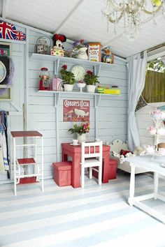 painted floors for basement playroom/ laundryroom Playhouse Decor, Playhouse Interior, Shed Interior, Build A Playhouse, Playhouse Outdoor, Luxury Interior Design, Outdoor Rooms, Playhouse Furniture, Childrens Playhouse