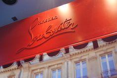 Christian Louboutin store in Paris taken by mcqueeny Christian Louboutin Store, Red Logo, Material Girls, Neon Signs, Paris, Luxury, Window Displays, Cl, Packaging