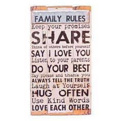 Family Rules Wall Decor is a charming piece for any entry way!