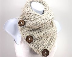 Crochet Chunky Neck Warmer with Three Natural Coconut Shell Buttons /WHEAT/, Buttoned Scarf Neck Warmer, Gift Idea