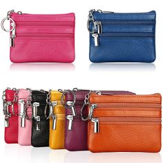 Women Men Leather Coin Purse Card Wallet Clutch Double Zipper Small Change Bag #Unbranded #CoinPurse