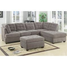 POUNDEX Furniture - 2 Piece Charcoal Finish 3 Seat Sectional Sofa With Reversible Chaise - 47F7139