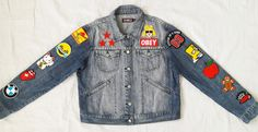 Patched Denim / Hand Reworked Vintage Denim Jacket with Patches / Patched Denim…