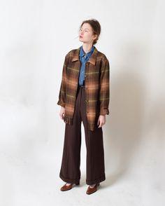 Fringed Plaid Wool Shirt Jacket Vintage Tartan Boxy by ShopNarro