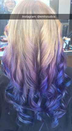 This is a purple to blue balyage I did on blonde hair. Please give credit and fo… - All For New Hairstyles Blonde Hair With Purple Tips, Balayage Hair Purple, Blue Purple Hair, Hair Streaks, Dyed Tips, Hair Dye Tips, Wengie Hair, Bilage Hair, Purple Hair