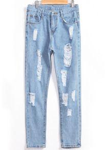 With Pocket Ripped Denim Slim Pant