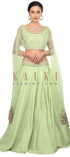 Mint green lehenga with fancy embroidered cape blouse only on Kalki Lehenga Suit, Green Lehenga, Lehenga Blouse, Bollywood Dress, Ethnic Looks, Bridesmaid Outfit, Indian Outfits, Indian Clothes, Cape Dress