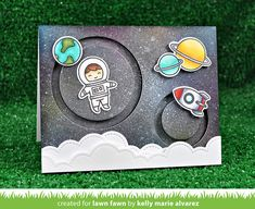 the Lawn Fawn blog: Lawn Fawn Intro: Out of This World + Slide on Over Circles Card by Kelly Marie Alvarez.