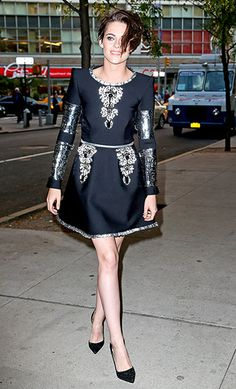 Kristen Stewart wore a black ensemble with silver appliques in NYC.