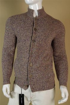 $2445 Brunello Cucinelli 100% Cashmere Cardigan sz 52 X Large Brown Black Blue #BrunelloCucinelli #Cardigan