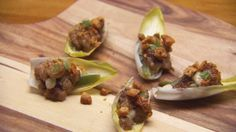 Endive Cups with Pork, Date, Pigface and Anchovy Mayonnaise Paleo Starters, Meat Recipes, Food Processor Recipes, Masterchef Recipes, Seafood Dishes, Culinary Arts, Mayonnaise, A Food, Masterchef Australia