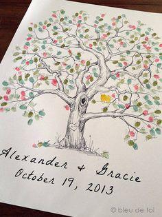 Finger print tree, vingerafdrukken van al jullie gasten in jullie boom