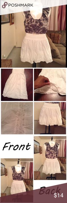 """American Eagle Outfitters Skirt Skirt is made of 100% cotton. White. Size XS. Lined. Laying flat """"12. Length """"16.5. This item is NOT new, It is used and in Good condition. Authentic and from a Smoke And Pet free home. All Offers through the offer button ONLY.  Ask any questions BEFORE purchase. Please use the Offer button, I WILL NOT negotiate in the comment section. Thank You😃 American Eagle Outfitters Skirts"""