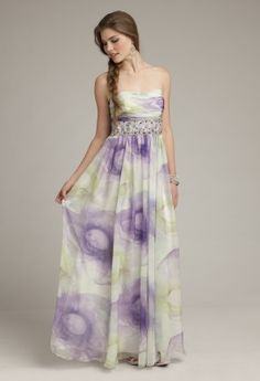 Camille La Vie grecian green and purple tie dye chiffon print dress with a square/ slight scoop neckline, a ruched bodice and a heaily beaded empire band.