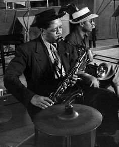 Lester Young, photographed by Herman Leonard.