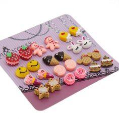 Color Cute Magnetic Stud Earrings for Girls Kids Women, Pack of 12