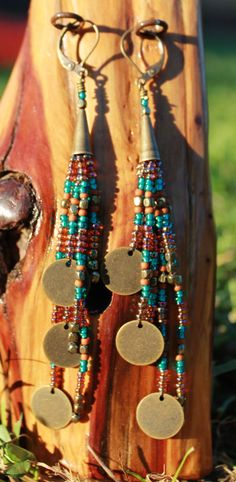 Seed bead earrings, tassel, hand stitched, fringe, handmade, multicolored, long, dangle, colorful, boho, bead, Native American inspired, hippie, bronze, beaded on Etsy $35.00
