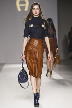 Aigner Ready To Wear Fall Winter 2014 Milan - NOWFASHION...Love the details on the skirt.
