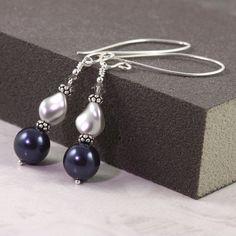 Pearl Earrings Midnight Blue Gray Navy Fancy Sterling Silver Ear Wires