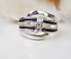 Designer Sterling Silver 925 Band Ring Black by LittleBittreasures