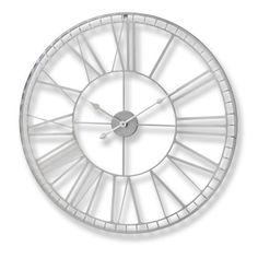 Large Nickel Skeleton Wall Clock 80cm Silver Feature Piece | eBay