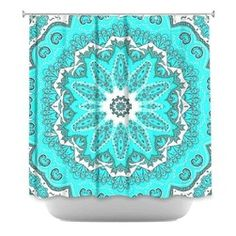 Turquoise Ruffle Shower Curtain | Shower Curtain HQ - Put this bright turquoise shower curtain in your ...