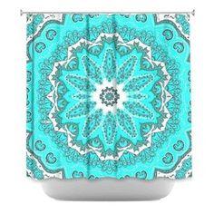 Turquoise Ruffle Shower Curtain | Shower Curtain HQ - Put this bright turquoise shower curtain in your ...