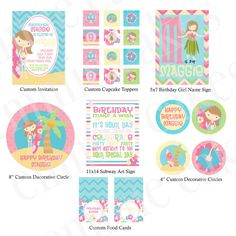 Custom Surf Girl Party Printable Kit by emmiecakes on Etsy, $23.00