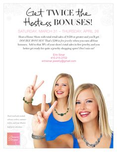 Who wants to host a jewelry show with me and earn DOUBLE Hostess Bonuses?! I only have these 3 dates left: Thursday, April 19th. Tuesday, April 24. Thursday, April 26.    Email me to reserve your spot! erinsinar.jewelry@gmail.com