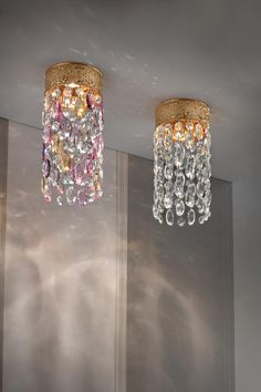 Classic style spot revisited in a cylinder of large crystal clear, amber, smoky, purple cut crystal pendants Murano Glass, Classic Lighting, Wall Lights, Ceiling Lights, Style Classique, Perfect Marriage, Ambre, Spots, Large Crystals