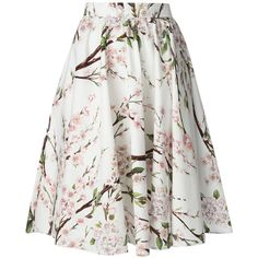 DOLCE & GABBANA floral printed A-Line skirt (2.735 RON) ❤ liked on Polyvore featuring skirts, bottoms, saias, gonne, dolce & gabbana, white high waisted skirt, cotton skirts, floral skirt, white cotton skirt and white a line skirt