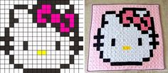 Repeat Crafter Me: Pixel Crochet Squares and like OMG! get some yourself some pawtastic adorable cat shirts, cat socks, and other cat apparel by tapping the pin!