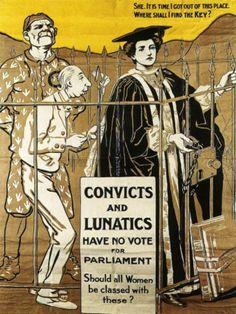 Propaganda political convict lunatic women suffrage uk art print poster bb6805b