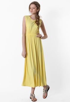#Chicwish Open Back Long Maxi Dress in Yellow - Dress - Retro, Indie and Unique Fashion