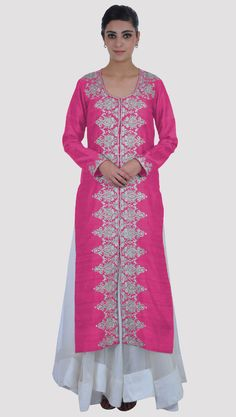 Tilla Embroidered Pink Yarrow Pure Raw Silk Jacket With Flared Skirt