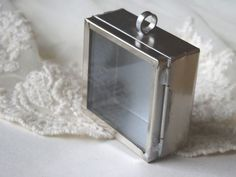 1- Square Shadow Box Antique Silver Pendant Display Glass Locket Deep Shadow Box Pendant Diy Jewelry Making Supplies Inv0459