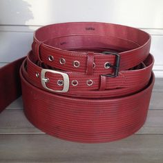 Belts, made of spent fire hose, lined with leather, spent in the gym.