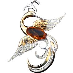 1940 BOUCHER Huge Faceted Glass Belly Rhinestone Phoenix BIRD Figural Brooch Pin