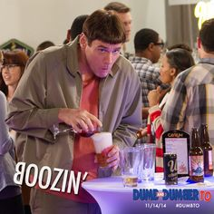 Homer drinks beer, Bender drinks booze, and Lloyd drinks whatever he can get his hands on. #DumbTo