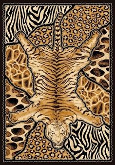 6u0027 X 8u0027 African Safari Animal Skins Print Tiger High Quality Density Area  Rug