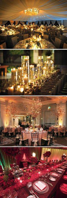 Decoración muy elegante para banquete de boda