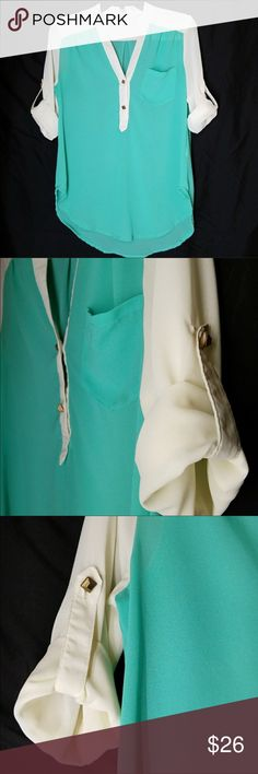 """YA Blouse Seafoam & Eggshell blouse , beautiful!!  Faux gold square buttons, roll up sleeves with attachment , or leave unfolded. V-neckline.   Armpit-Armpit is 19"""" Hi-lo =Front Length 25 1/2 Back length 29"""" Ya Los Angeles Tops Blouses"""