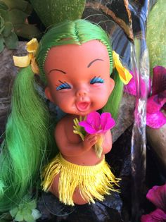 RARE Vintage 1960's Rubber Hawaii Doll with by LittleMissModShop
