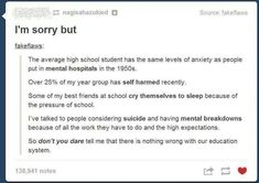 This is too true. This is true of ELEMENTARY school kids. Some of these were true of me when I was in public school. << Except I'm entering the last year of middle school this year. I'm dreading high school. Education System, Education Reform, Faith In Humanity, No Me Importa, So True, Tumblr Posts, Along The Way, In This World, Just In Case