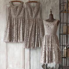 2015 Grey Bridesmaid dress Short, Gray Lace Wedding dress, Party dress, Elegant dress, Womens Formal Evening dress Knee length(FL019-2)-RENZ by RenzRags on Etsy https://www.etsy.com/listing/222223857/2015-grey-bridesmaid-dress-short-gray