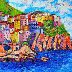 Manarola Cinque Terre Italy detail abstract impressionist palette-knife Oil Painting by Ana Maria Edulescu Small Canvas Paintings, Acrylic Painting Canvas, Watercolor Paintings, Frida Art, Cinque Terre Italy, Detailed Paintings, Italy Landscape, Italy Painting, Folk