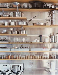 tamsinjohnson:  Open shelving with stainless exposed