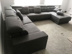Large Habitat corner sofa in microfibre material. Sofa with adjustable headrests, manual sliding seats and under seating storage. Chaise lounge with storage and can be deployed as a single size bed or seating with backrest, and armrest as extra seating. Delivered to our client in Essex. Modern Sofa, Modern Bedroom, Sofa Bed Mattress Cover, Single Size Bed, Leather Bed, Seat Storage, Birches, Cinema Room, Chaise Sofa