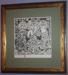 Woodcut on handmade Kozo paper, 1957, signed in pencil, dated and inscribed, with the artist's red stamp, framed